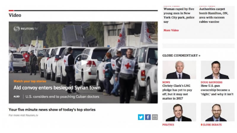 로이터통신의 Reuters TV for publishers 위젯 - 2015년