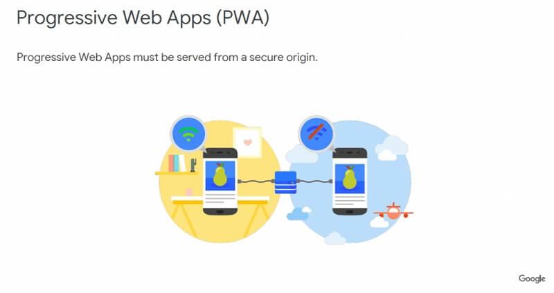 PWA(progressive web app)은 https만 지원함