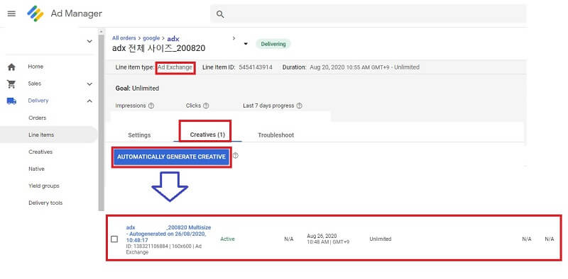how to set up google ad manager : add creatives to ad exchange line item