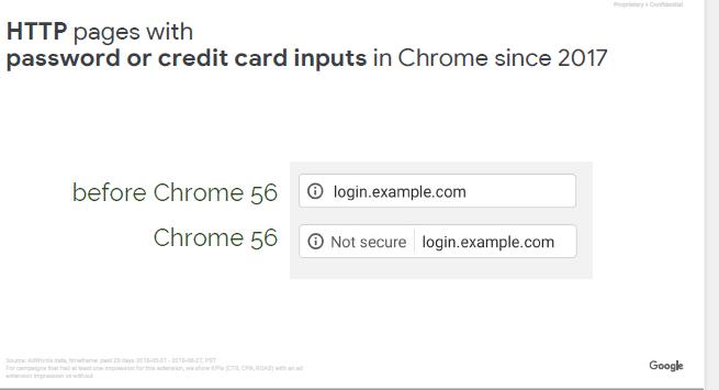크롬 2017년부터 로그인과 신용카드 입력 시 안전하지 않음 표시
