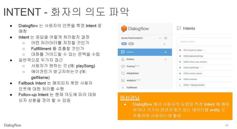 구글 dialogflow -문장을 학습해 사용자의 의도 파악하기