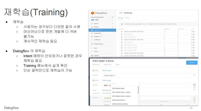 구글 dialogflow 재학습(training)하기