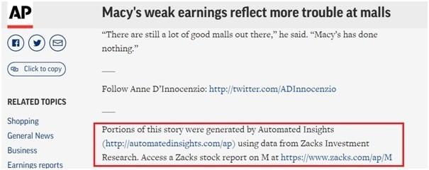 AP통신의 Macy's 백화점 실적 관련해 AI와 기자의 협업 기사 예시