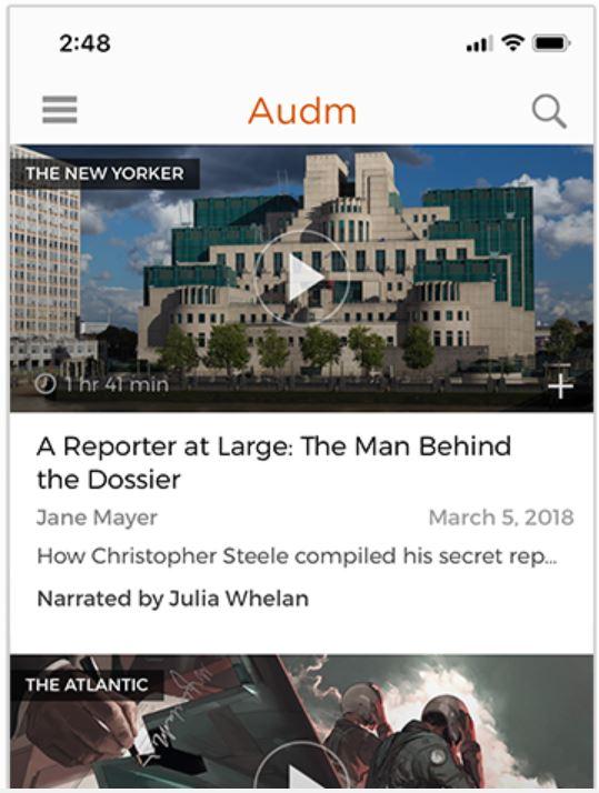 구독 기반 오디오 서비스 audm 화면 예시