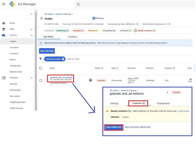 how to set up google ad manager :  add creatives into line item