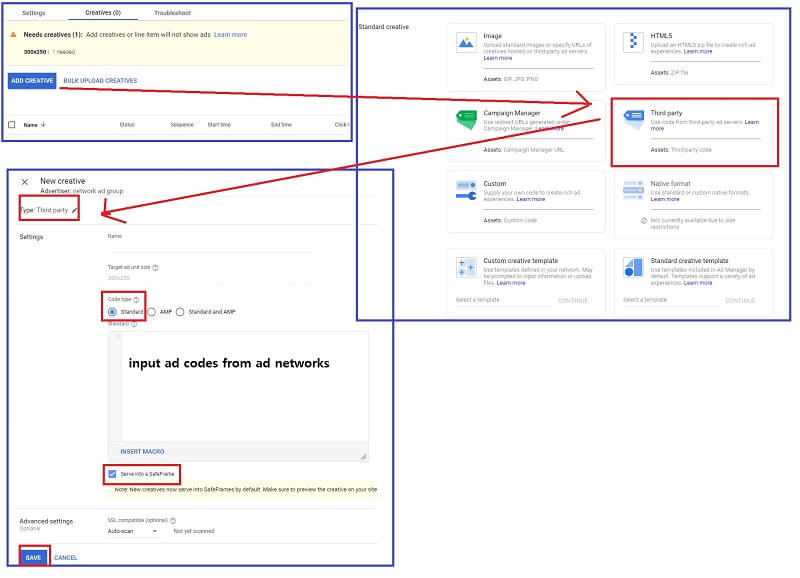 how to set up google ad manager : Creating other types of ad types creative