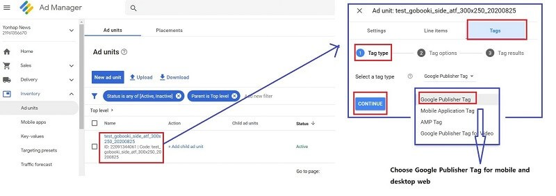 how to set up Google Ad Manager - generate tags