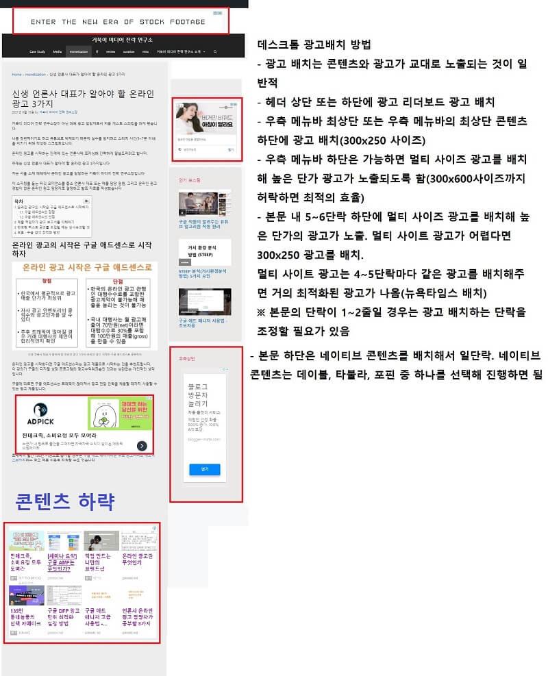 신규 광고 도입 시 데스크톱 광고 예제