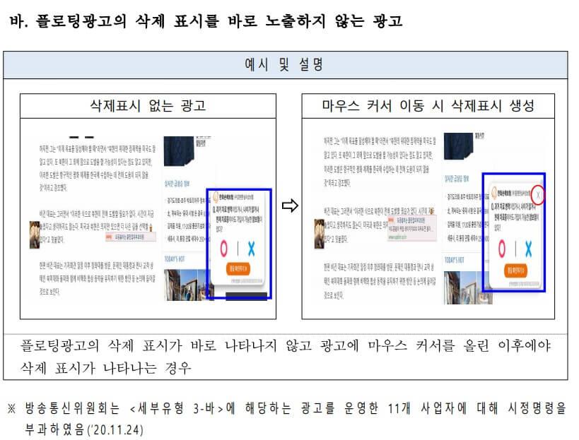 방통위 플로팅 광고 금지 사례 3. 플로팅광고의 삭제 표시를 바로 노출하지 않는 광고