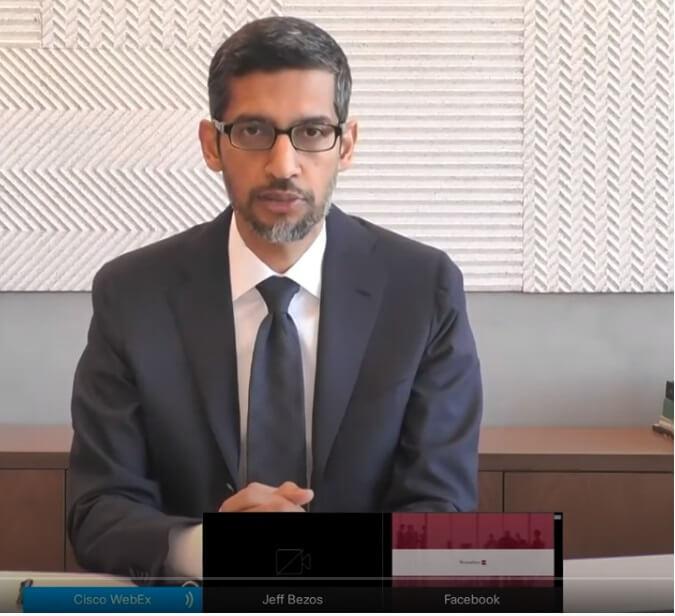 미국 하원 청문회에 참석한 구글 CEO 순다르 피차이