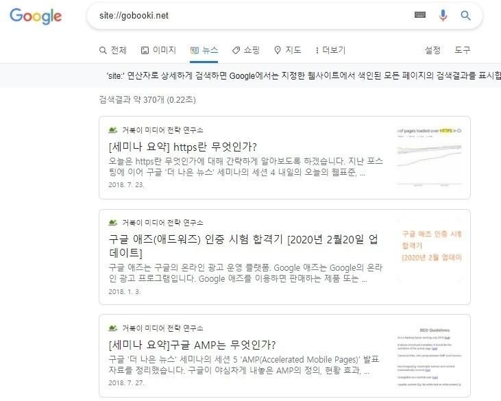 site 연산자로 구글이 색인한 모든 페이지의 검색결과 확인하기