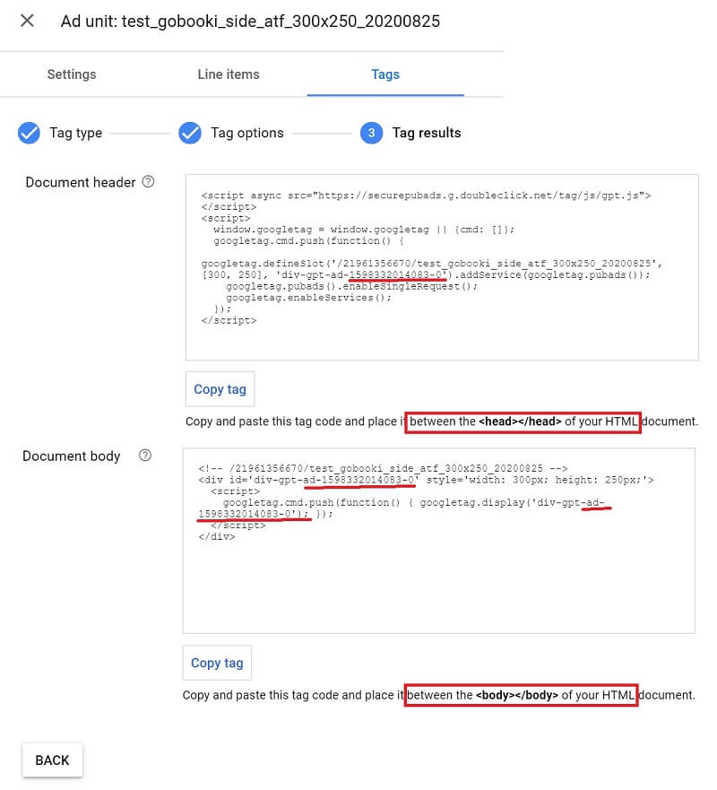 how to set up Google Ad Manager : ad tag generation result