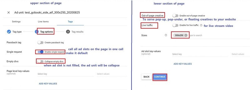 how to set up Google Ad Manager - tag sample