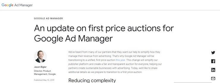 An update on first price auctions for Google Ad Manager