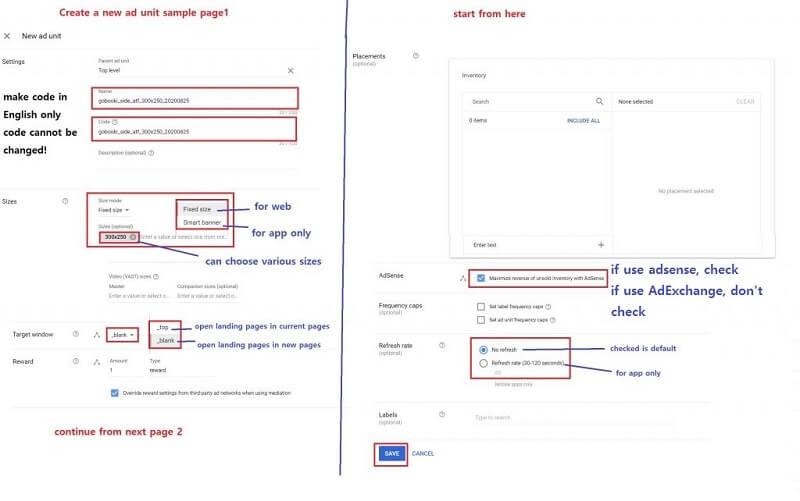how to set up Google Ad Manager - ad unit setup sample