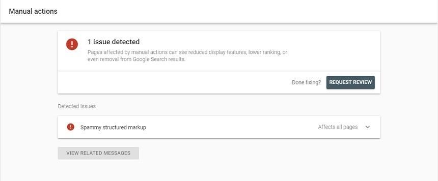 구글 서치콘솔 메뉴 - 직접 조치 - Manual action