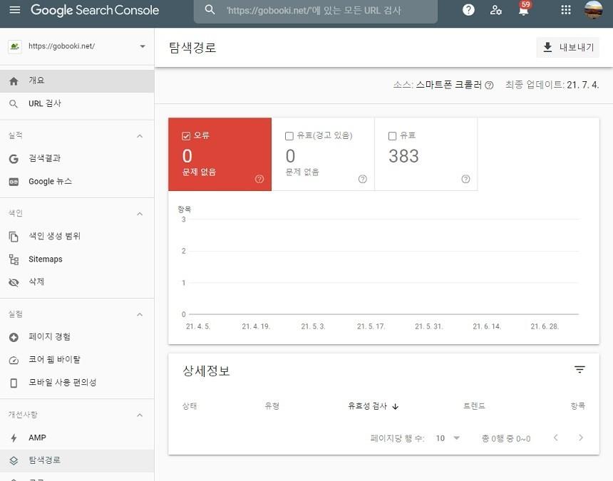 구글 서치콘솔 메뉴 - 개선사항 - 탐색경로