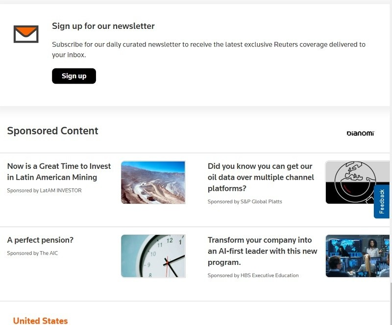 로이터 통신 온라인 광고-데스크톱